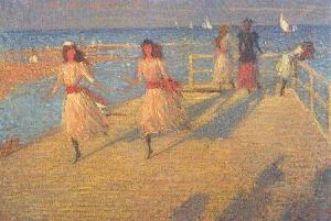 girls-running-walberswick-pier